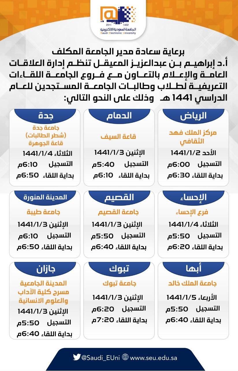 الجامعة السعودية الإلكترونية On Twitter مواعيد اللقاءات