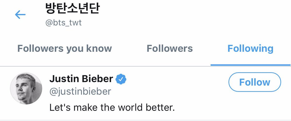 슈가젤리 On Twitter Bts And Justin Bieber Are Following