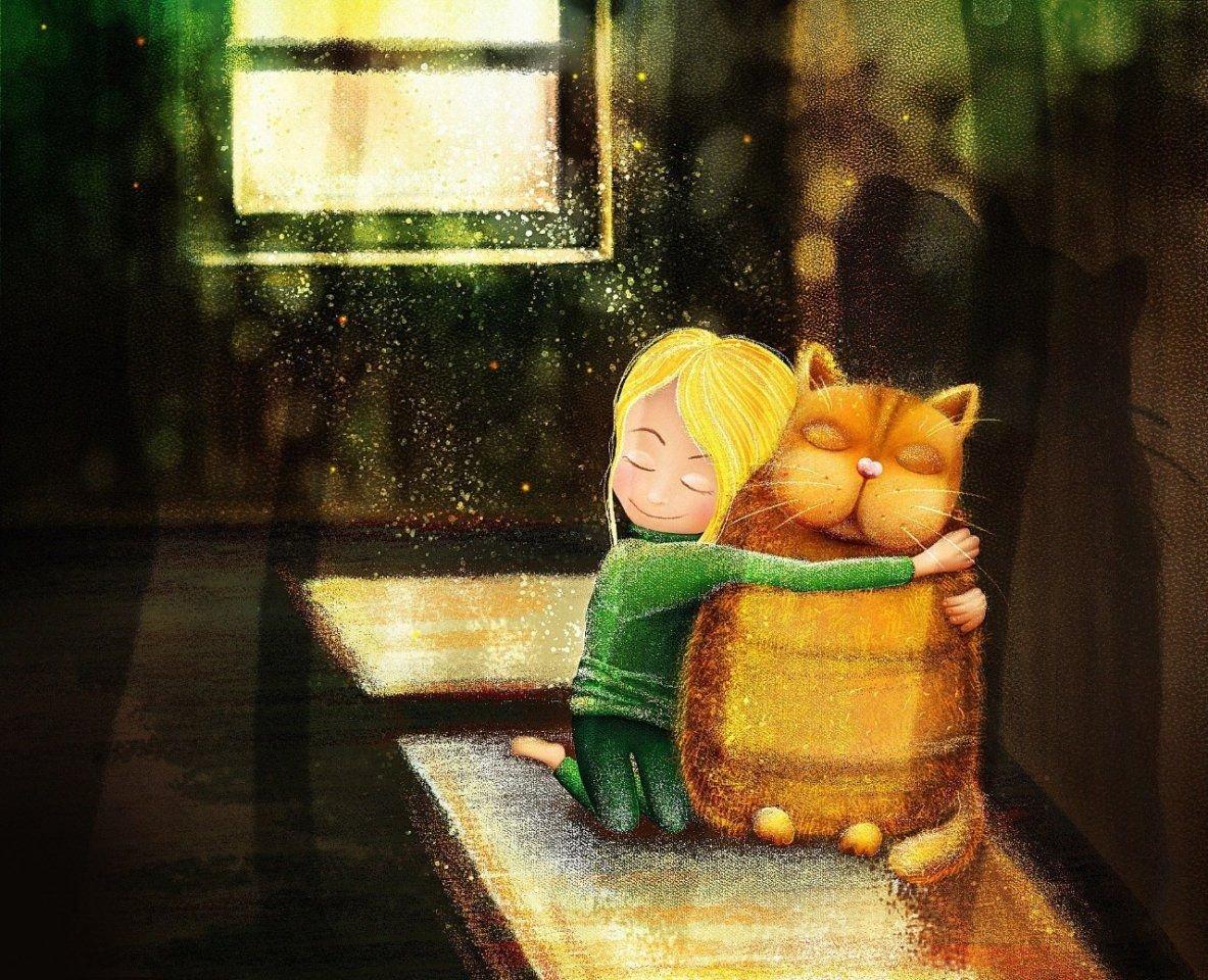 Салатовая, очень трогательная открытка