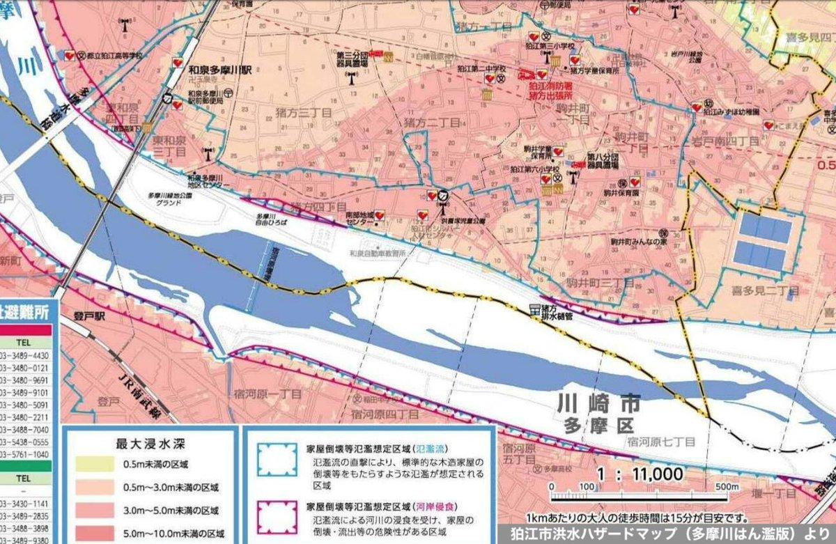 多摩川 水害 ハザードマップ