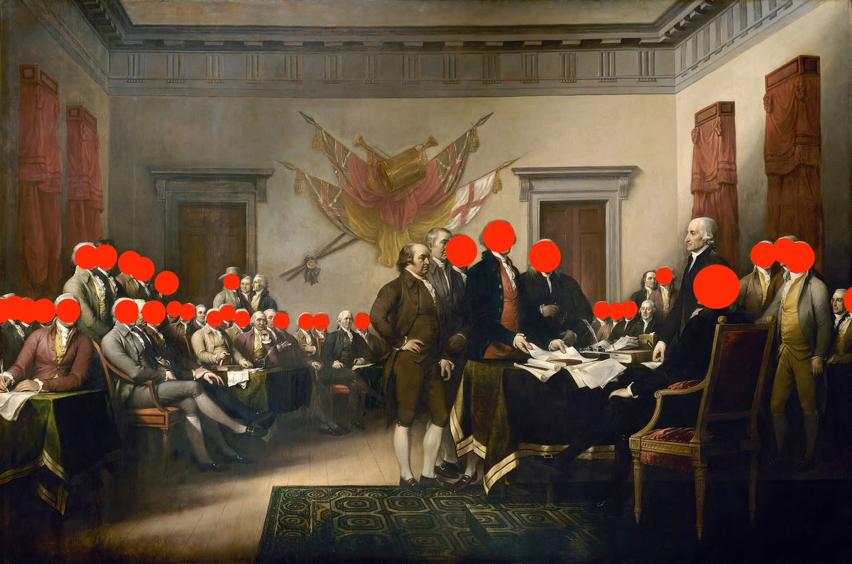This is one of the most famous paintings in American history: Declaration of Independence.  I decided to put red dots on all the men who held slaves.  Next time someone puts them on a pedestal and says we can't question their judgement on guns or whatever, show them this image. https://t.co/oA6vjjzW8V