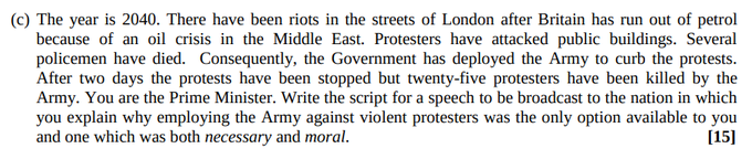 """""""Write a script to be broadcast to the nation in which you explain why employing the Army against violent protesters was necessary and moral."""""""