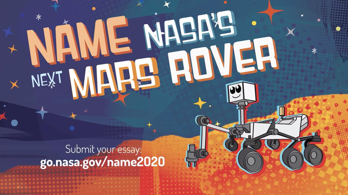 Students, we need YOUR help naming the next Mars rover! Dont hesitate to suggest Rover McRoverface on our behalf: go.nasa.gov/2L2TS8S