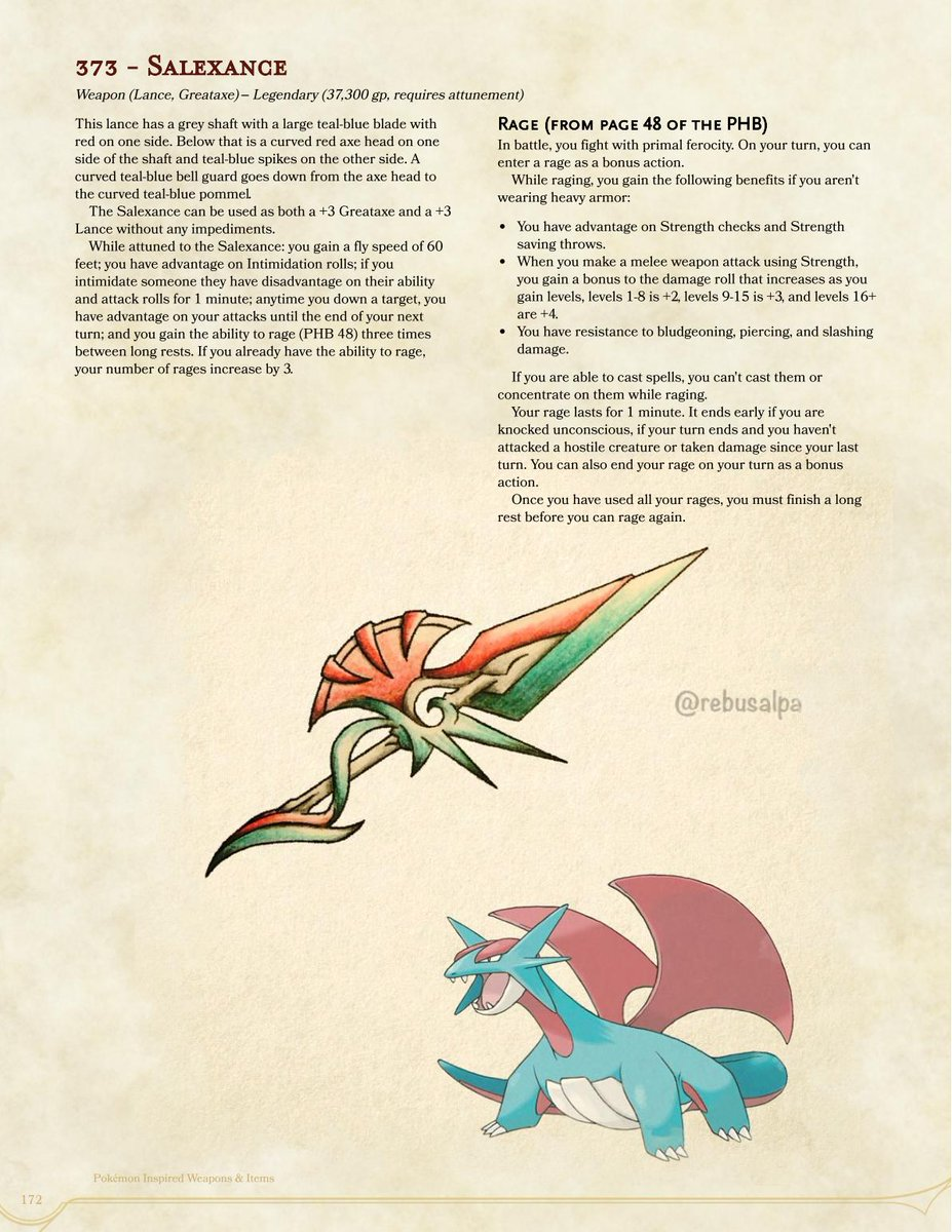 #DnD5e #Pokemon Magic Items based on art by @rebusalpa, p172, the great #Salamence a #flying #lance #greataxe that can really #intimidate the enemy before hitting them with the #rage PDF-