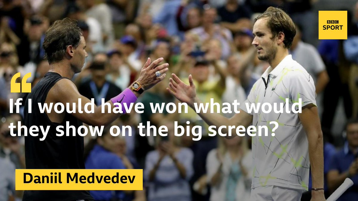 Just when you thought you couldn't like Daniil Medvedev any more than you already did, after watching Rafael Nadal's 19 Grand Slam wins played on the big screen he says this... #bbctennis #USOpenFinals