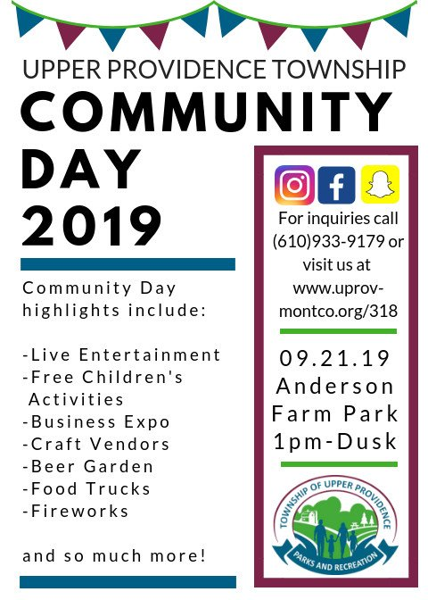 I'm so happy to serve such a vibrant community! Community days in Upper Providence are coming up fast.