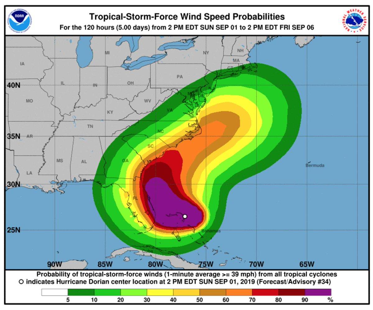 Hurricane Dorian: category 5 storm hits Bahamas before
