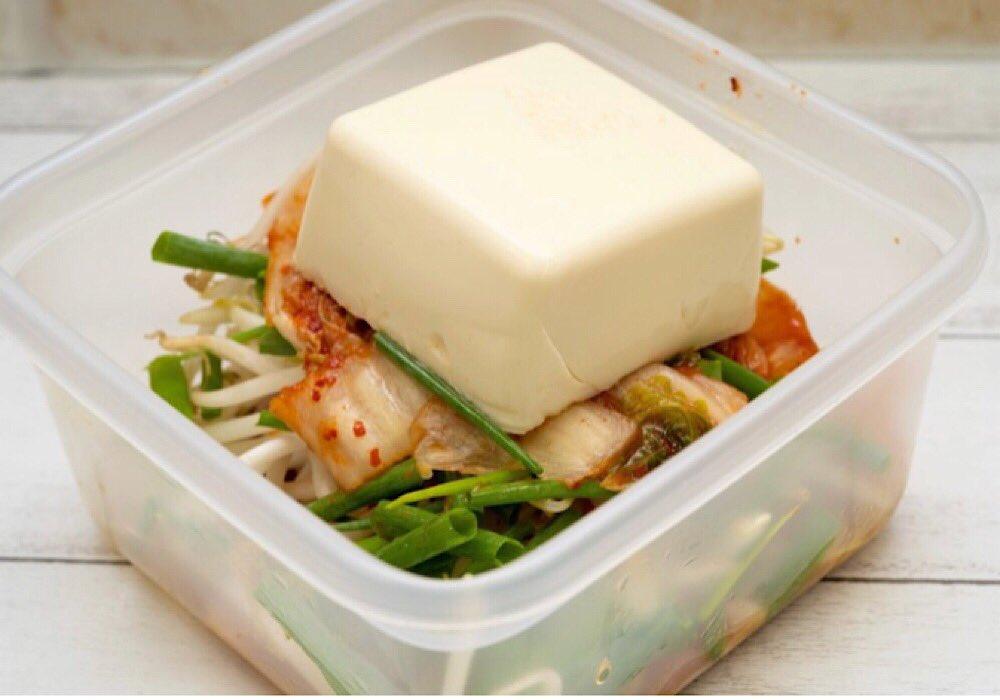 電子レンジでチンするだけキットの作り方「包丁不要!豚キムチ豆腐」