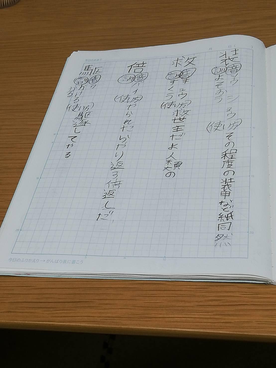そしてこちらが「漢字の宿題が終わらない」と言う10歳児に「自分が好きなアニメの台詞を例文にすればいいんだよ!」って励ましたら爆誕した痛ノートです。これを採点する担任の先生ホンマごめんなさい。