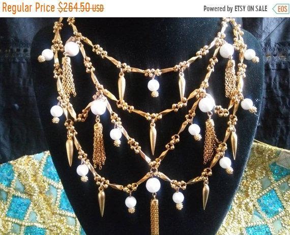 Les Bernard Rhinestone Bib Necklace Bracelet Set Rhodium Plate Tassel Fringe Dangle