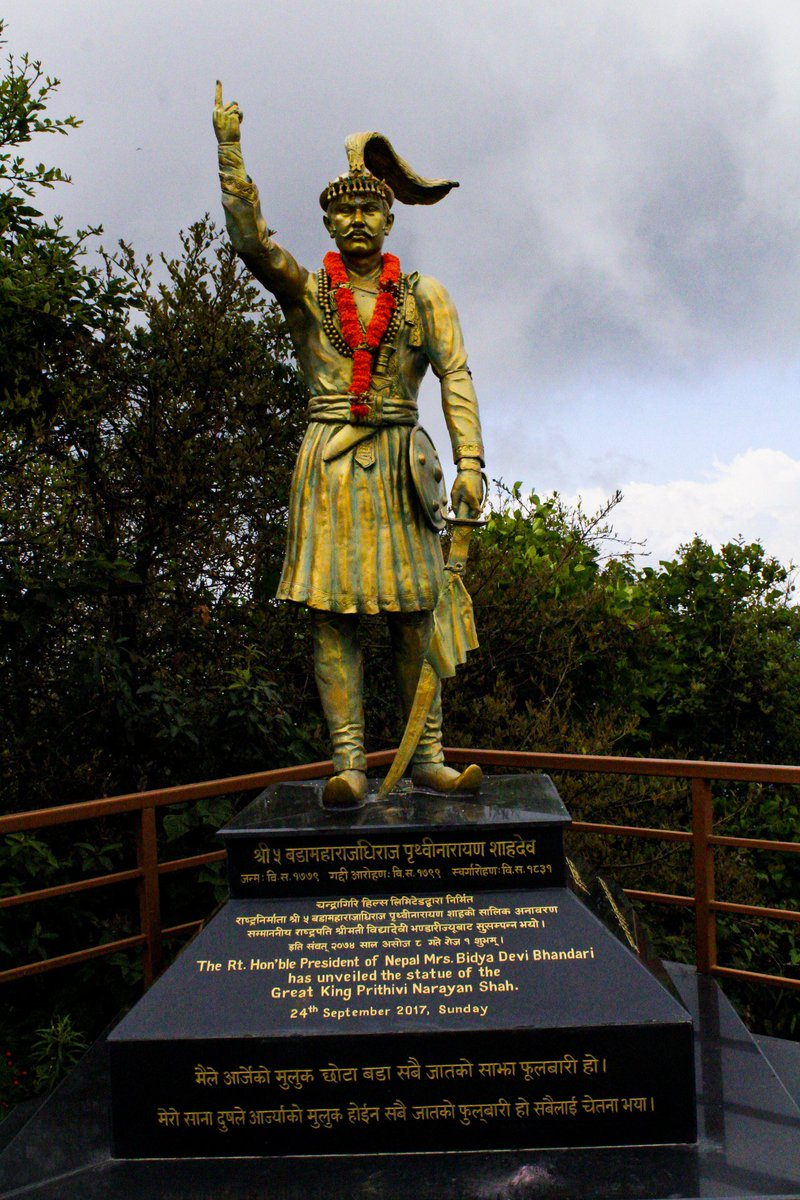 The founder of Nepal. Such a good hearted person who always dreamed to make Nepal as one country which was in 46 different small kingdom, and he did magnificently.  #namastenepal  #greenhillsnepal @greenhillsnepal @kathmandupost @bbcnepali @BBC_Travel @ekantipur_com<br>http://pic.twitter.com/F7RcnKWUf8