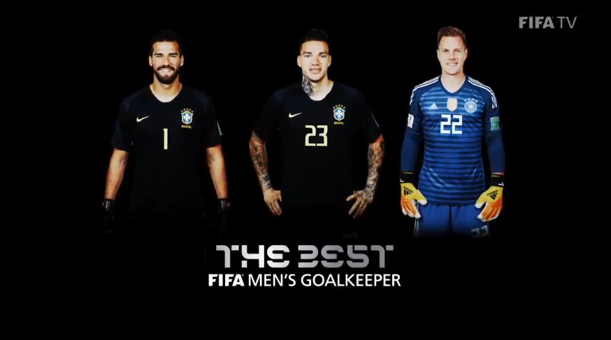 The three nominees for #TheBest FIFA Goalkeeper of the Year are @Alissonbecker @edersonmoraes93 and @mterstegen1