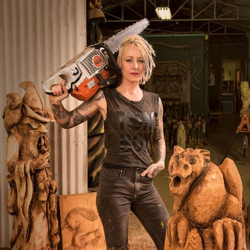 Griffon E. Ramsey, US chainsaw carving artist known for her pop-culture wood sculptures #womensart