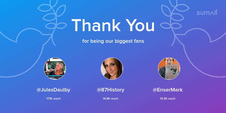 Our biggest fans this week: JulesDaulby, 87History, EnserMark. Thank you! via sumall.com/thankyou?utm_s…