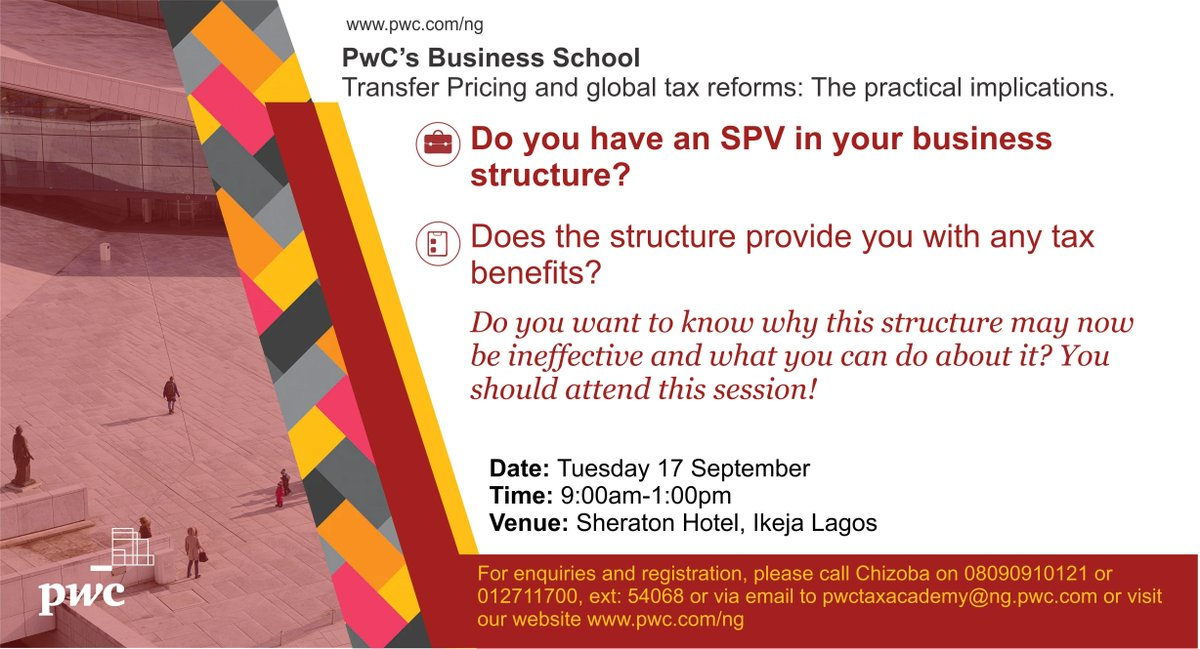 Do you have an SPV in your business structure? Does the structure provide you with any tax benefits? Do you want to know why this structure may be ineffective? Register here  http:// ow.ly/gkih50vO17F     to attend @PwC_Nigeria's #TaxAcademy #TP #Nigeria #BEPS @itsSeunAdu @tiwaotufale<br>http://pic.twitter.com/qFTm4gn2p3
