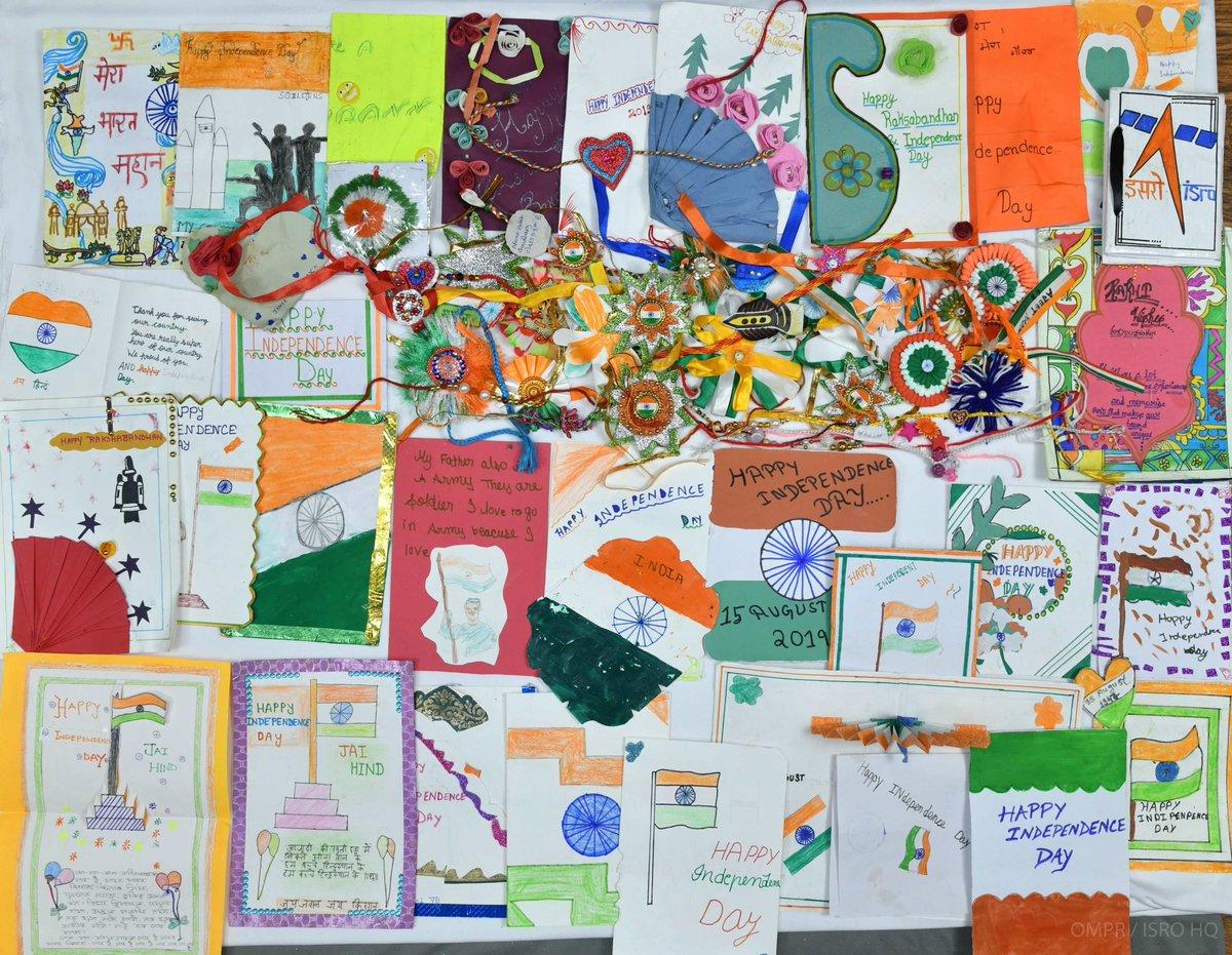 We are totally impressed by the efforts of students of KV, A.F.S Digaru & KV, Nagaon schools of Assam and KV, Basti & KV Gangrani (Kushinagar) schools of Uttar pradesh for their handmade greeting wishes and rakhi. #ISRO https://t.co/j7giEhGCJz