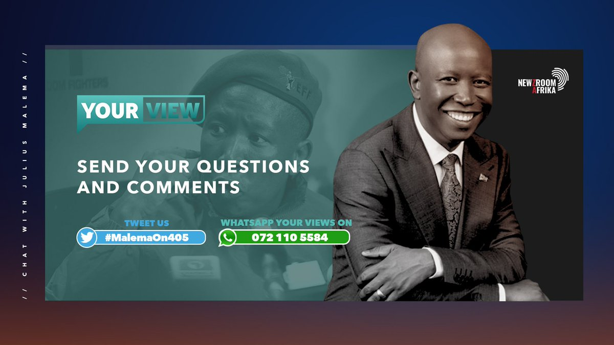 Tonight on #YourViewon405 ,@JJTabane , @iamthabomdluli and @Bongiwe_Zwane29 are in conversation with @EFFSouthAfrica Leader , @Julius_S_Malema #MalemaOn405 #Newzroom405 #Newzroomafrika  Tweet or message us your questions and comments #Newzroom405 #YourViewon405
