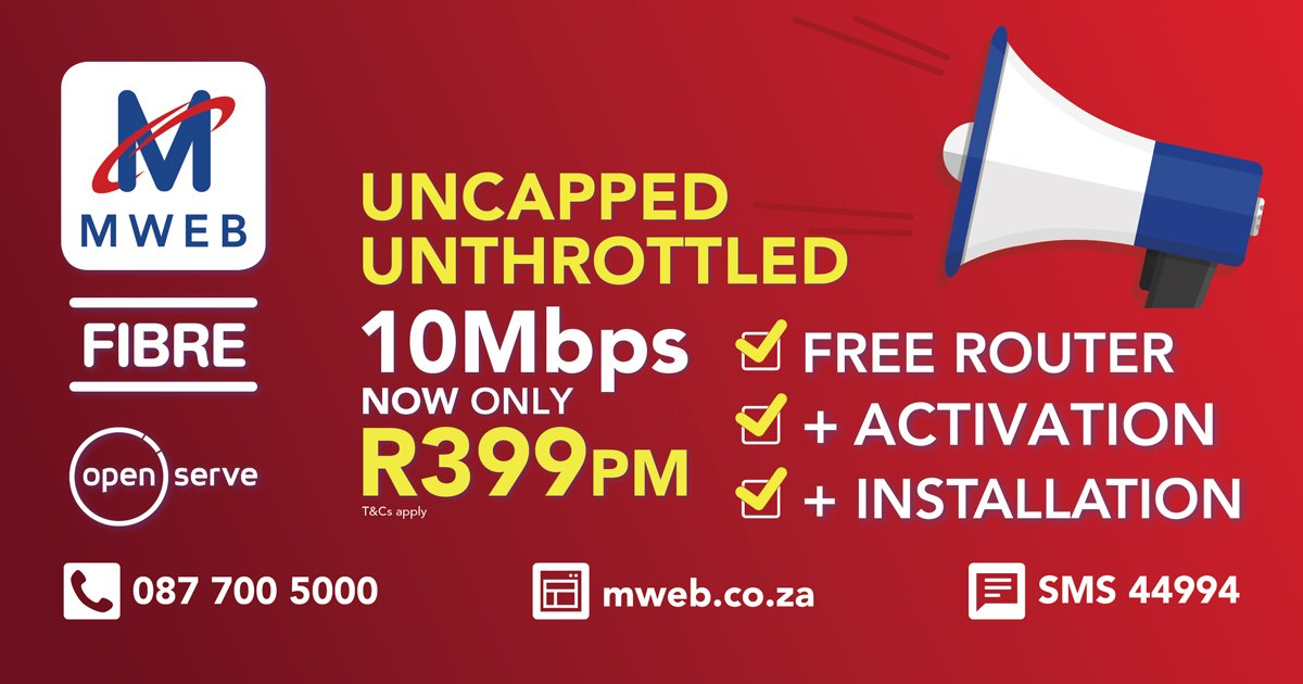 Mweb Tweets On Twitter Not To Brag But Our Fibre Products Just Got Better No Throttling Free Router Activation Installation Check For Coverage And Sign Up Today Https T Co Bvy7plydbj Https T Co Sjy0eq2731