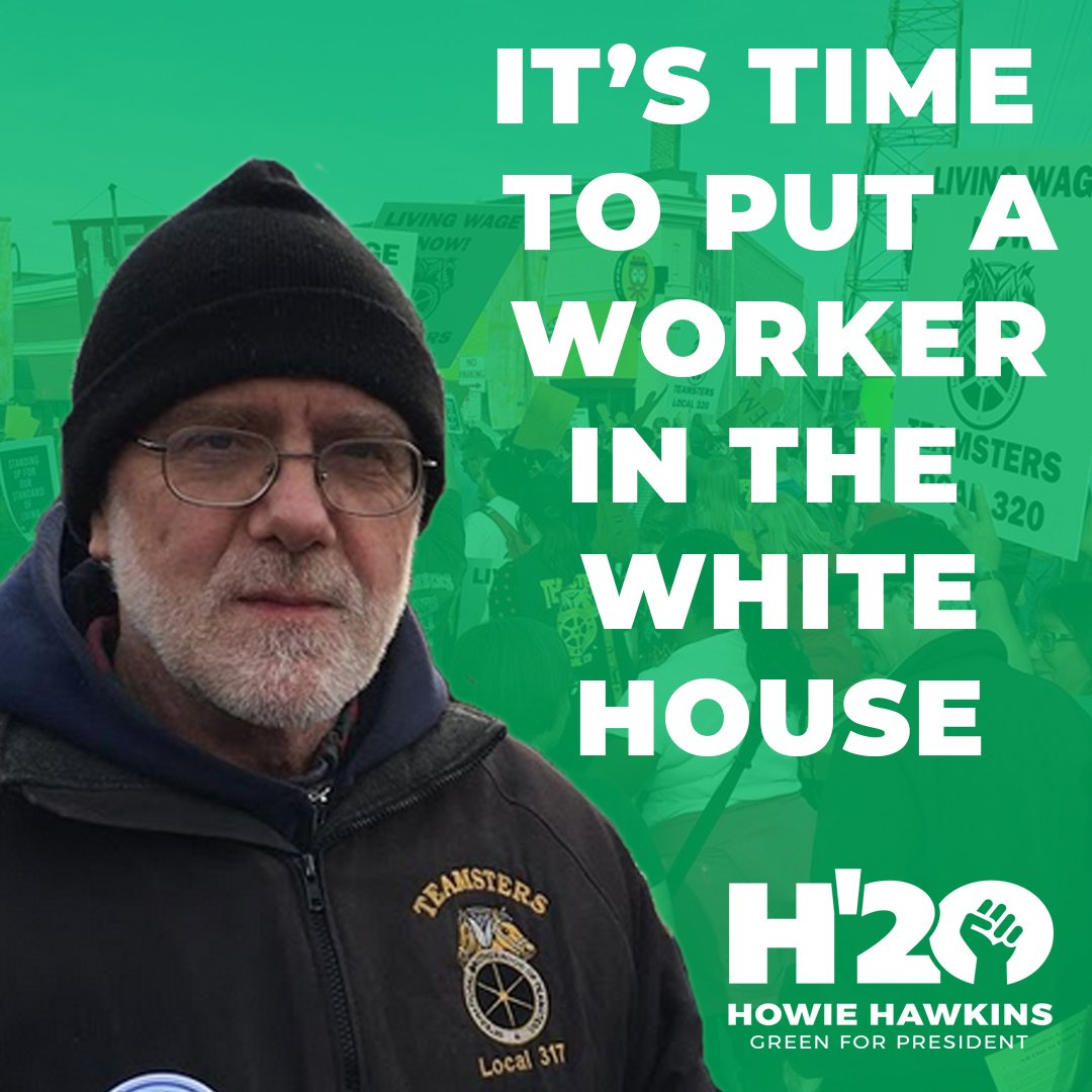 It's Time to Put a Worker in the White House!    An ASU Marine, a Teamster, a Wobblie, Howie has been a union member most of his life and understands the struggles and needs of the working class.  We need an Ecosocialist Green New Deal! #Howie2020