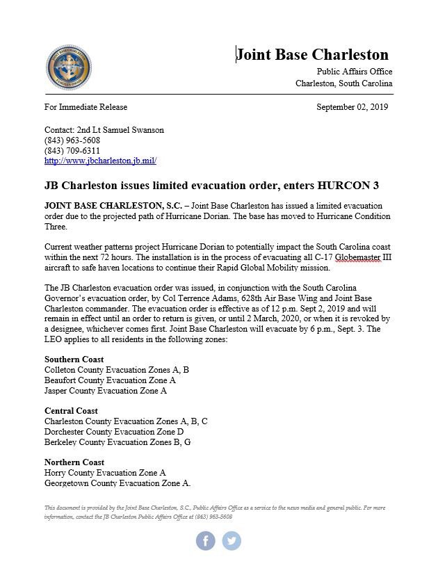 JB Charleston issues a limited evacuation order & activated HURCON 3 in anticipation of Hurricane Dorian.