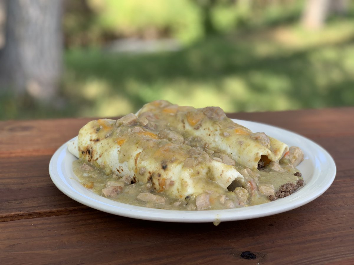 Meat Church On Twitter What Do Y All Have Going On The Grill Today Beef Burritos Smothered In Green Chili Here At Elk Camp In Stonewall Co For Me Meatchurch Elkcamp Rmef