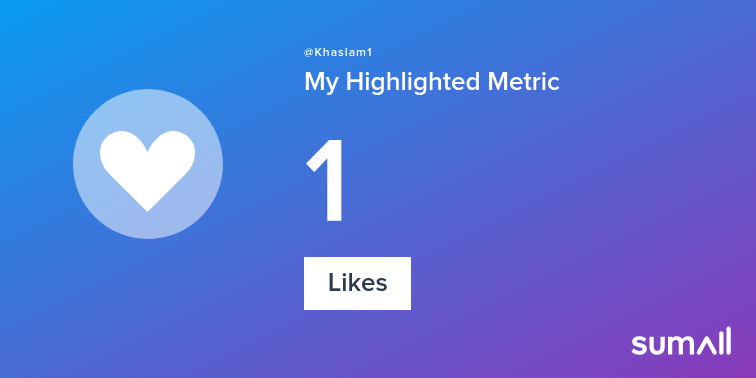 My week on Twitter 🎉: 1 Like. See yours with sumall.com/performancetwe…
