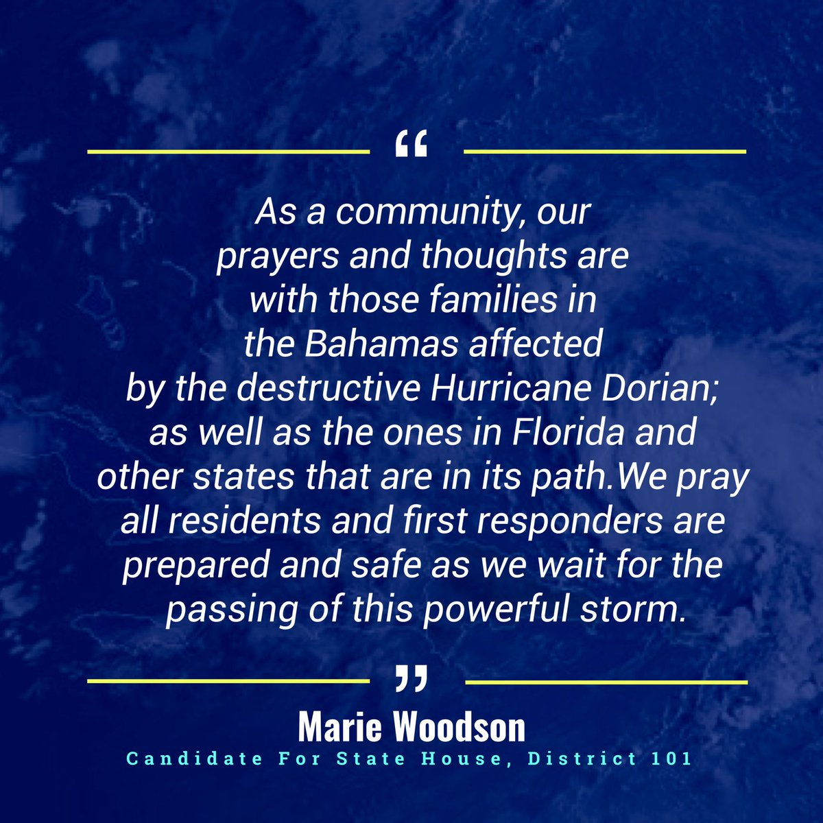 As always, our community will come together to assist those affected by Dorian. Let's continue to pray for our brothers and sisters who are currently dealing with its destruction.⁣⁣ ⁣⁣ #HurricaneDorian
