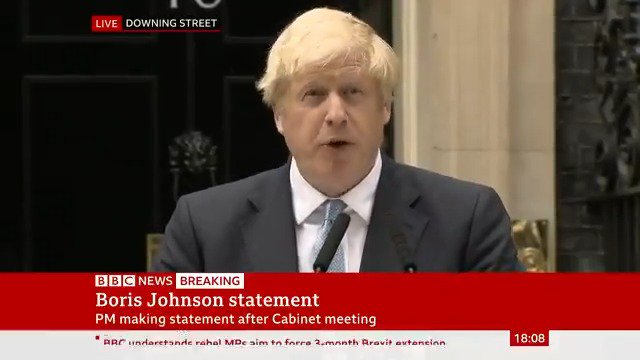 """It's just the most extraordinary footage. Never in my life thought I'd see a UK Prime Minister speaking on the steps of Downing Street drowned out by chants of """"stop the coup!"""" https://t.co/vtyflv6JPr"""