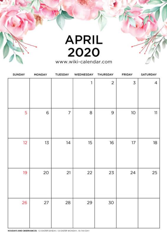 Free Printable April 2020 Floral Calendar #calendar