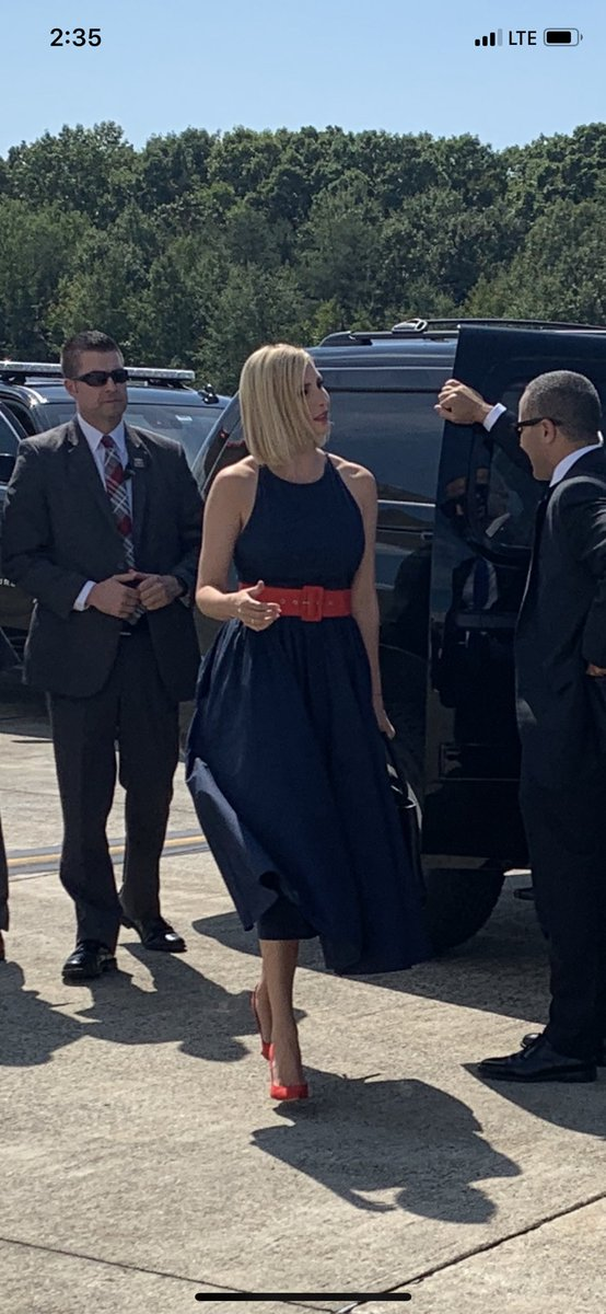 Ivanka Stuns In Gorgeous Sleeveless Navy Blue Dress For South America Trip