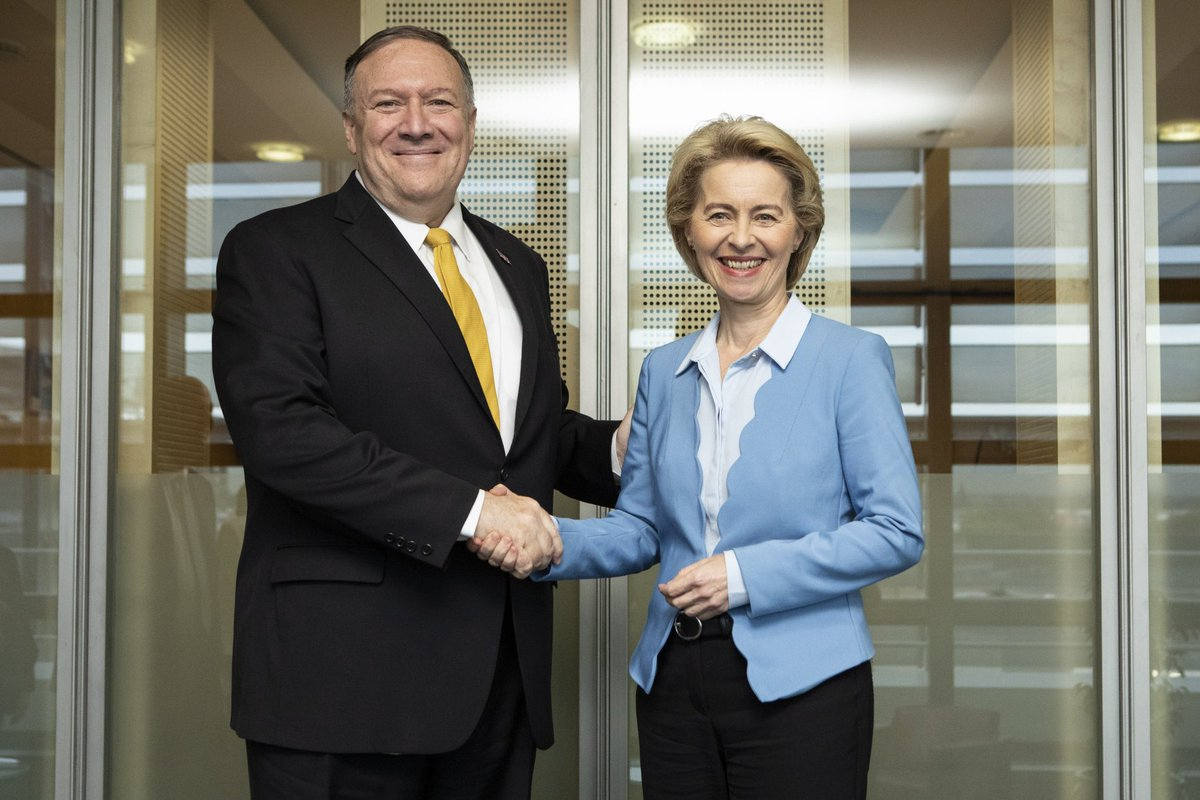 I'm happy to welcome @SecPompeo to Brussels. Great to getting to know each other better and talking to him about the #transatlantic relationship between the #EU and #US. 🇪🇺🇺🇸
