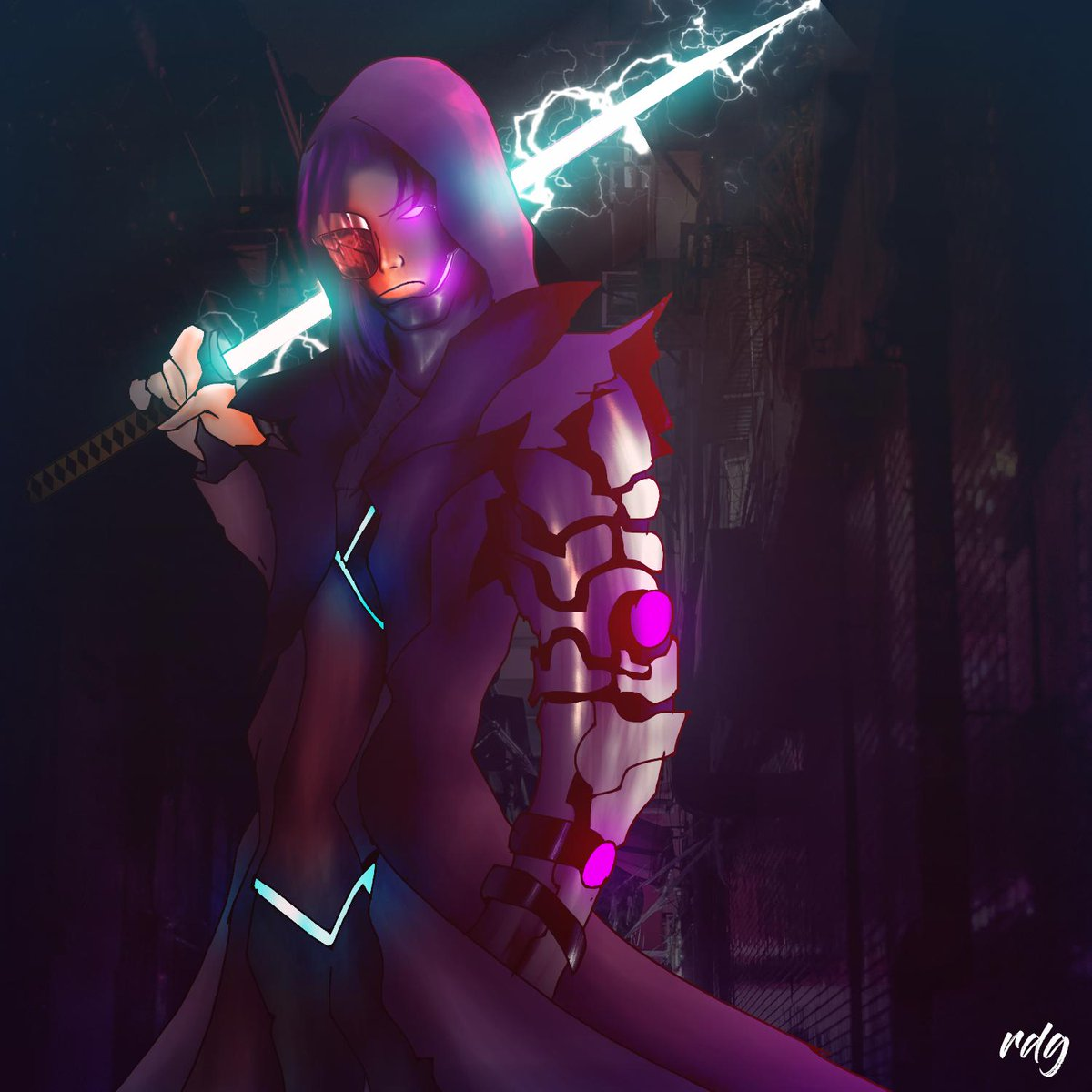 Cyberpunk Zhin concept  This turned into a logo for a streamer I met and worked a commission for. Thought of transforming it into a Zhin skin coz why not.  @TyrantZhin @HiRezRomanova @Pixiekittie_ @ThunderBrush @PaladinsGame