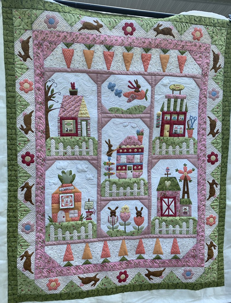 This sweet Bunny Town Quilt was just delivered! This was custom quilted with Invisafil Threads and wool Quilters Dream Batting, the perfect combo for dense fills and appliqué! #bunnytownquilt #customquilting #quiltersofinstagram #springquilt #quiltsofinstagram #battgirls https://t.co/cq4HHKox2w