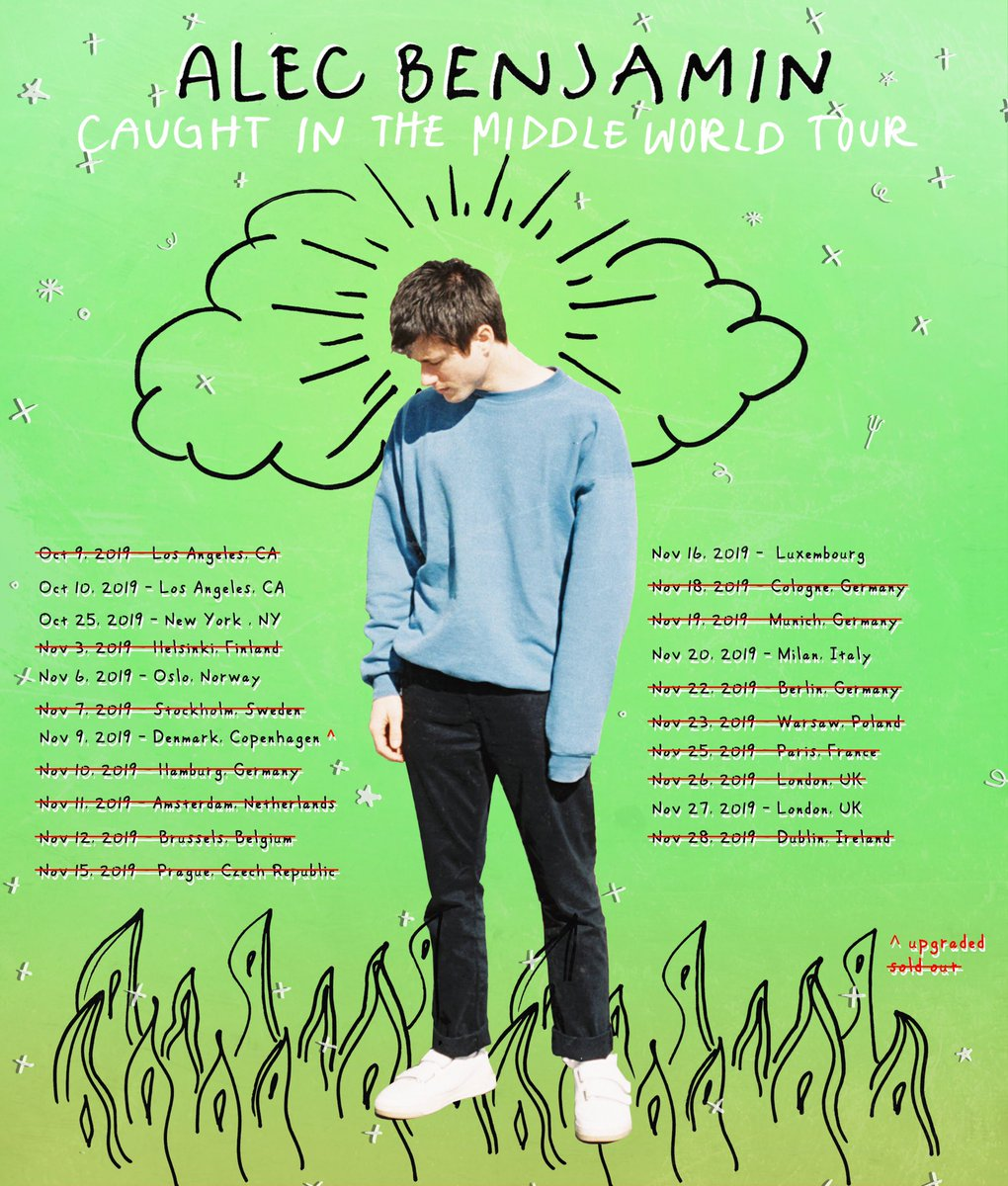 2nd LA , 2nd London, Oslo & NYC shows almost sold out alecbenjamin.com/tour