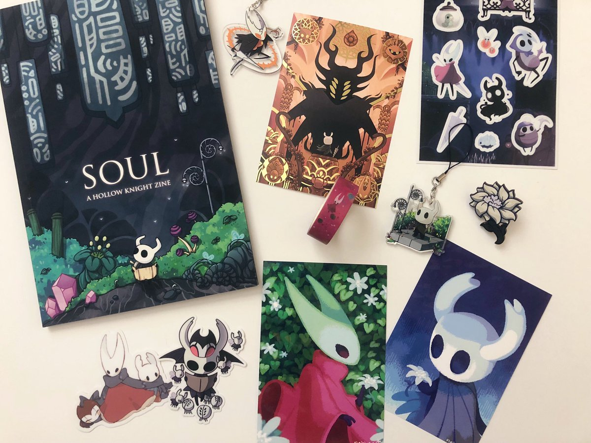 Look at this amazing Hollow Knight zine I ordered! Came with so many goodies and lots of great artists collaborated on this! Can't wait to play Hollow Knight Silksong 💕