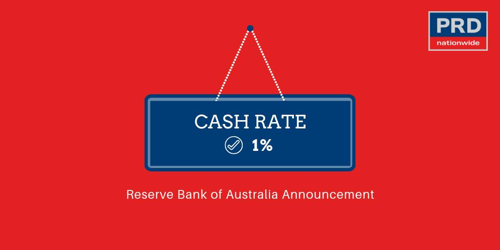 #JustAnnounced: The #RBA has decided to leave the cash rate unchanged at 1.00 per cent. https://t.co/67Ouaa56bs
