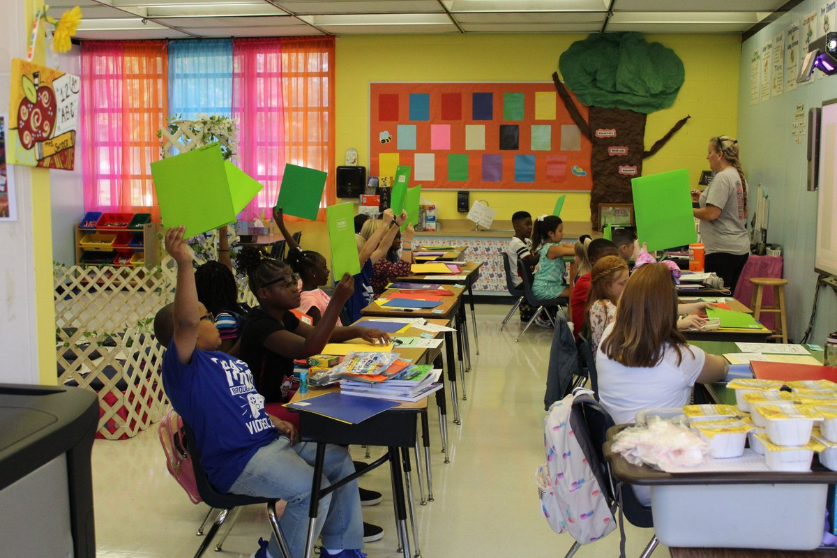 Middle School Students Raising Hands