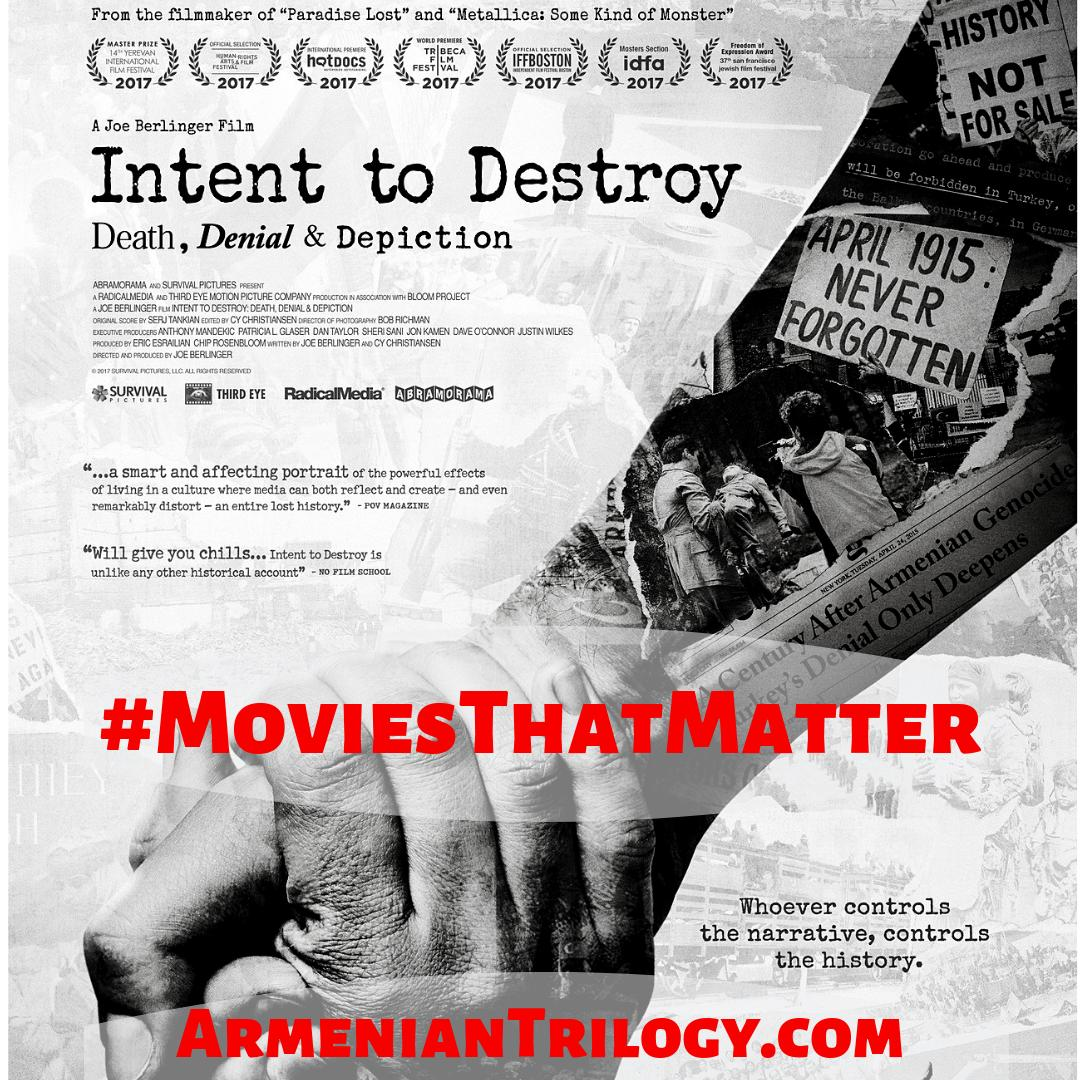 "#IntentToDestroy is a must watch documentary w/production from ""The Promise"" movie featuring Christian Bale. Divided into 3 Chapters (Death, Denial, Depiction) - not unlike the 3 Movements of #ArmenianTrilogy . On Amazon & Starz #MoviesThatMatter #ArmenianGenocide https://t.co/M5cm6d0f5x"