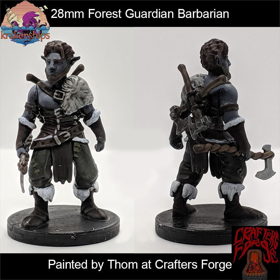 Our Forest Guardian Barbarian mini painted by @crafters_forge   #krakenminis #miniatures #dnd #dungeonsanddragons #paintedminiatures #tabletopgaming #barbarian #greataxe #furs #fantasyminiatures
