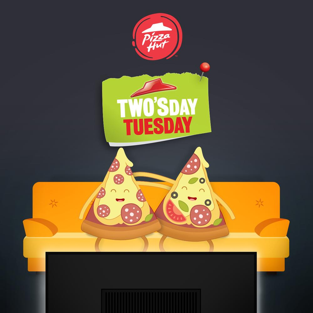 Who is your go-to pizza pal?? Enjoy a second pizza free when you order a medium or large pizza today from Pizza Hut Delivery! Code: twosd #twosday https://t.co/fjcdeuqEnZ
