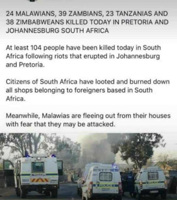 During apartheid, we were taking care of their parents, today their children are killing our children...Over 100 people killed today!!!!shameful! #shutdownsouthafrica #XenophobicAttacks #SayNoToXenophobia