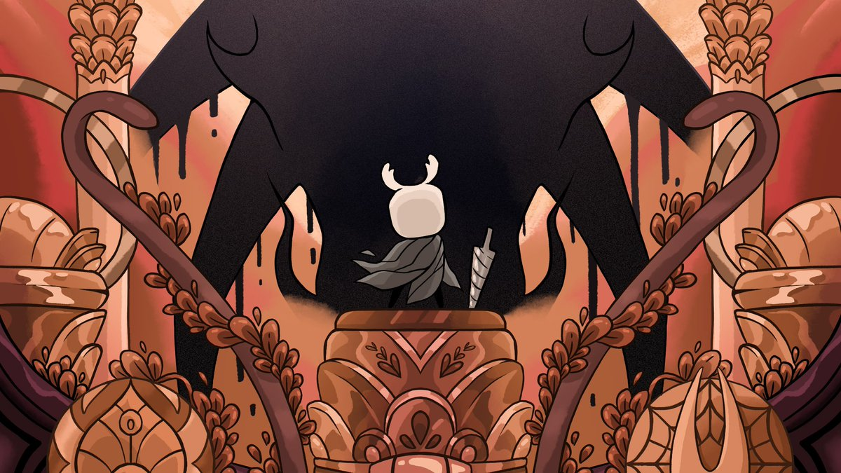 🌑 Not bug, nor beast, nor god. 🌑 I'm so happy I got to do the stretch goal print for @SoulZine ! All the warm colors and gold foil elements were a dream come true, how could I not pick Godhome?✨✨✨ #HollowKnight