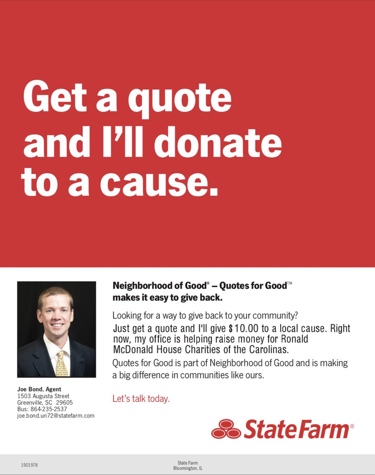 Joe Bond State Farm On Twitter Join Our Office This Month As We Team Up With Ronald Mcdonald House Charities Of The Carolinas With Our Quotes For Good Campaign Stop By Or