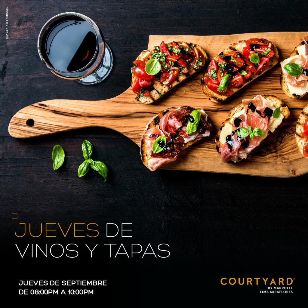 Regresan nuestros Jueves de Vinos & Tapas de 8:00 pm a 10:00 pm en el #CourtyardMiraflores donde podrás disfrutar de 3 tipos de tapas y maridarlos de la mejor manera con dos tipos de vinos 🍷 🍷  Precio por persona S/69.00  Más información:  https://t.co/YEbaCms4fH https://t.co/XQhzavZxhM