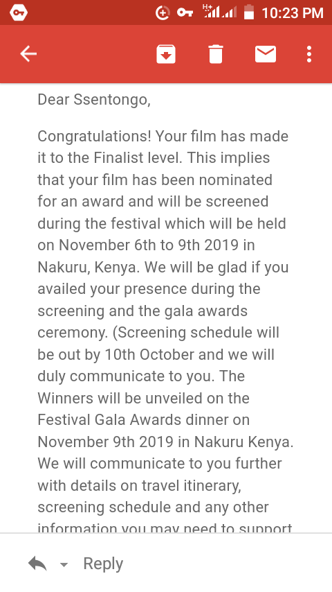 What another bless from the Almighty Allah, so well looks like *SAVED* is adding onto its 9 selection and 8+ nominations again this year, weve just received a notification from Lake International Pan-African Film Festival in Kenya that well be competing for awards during