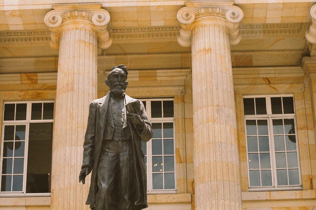 """Capitolio Nacional de Colombia on Twitter: """"18 de septiembre de 1894: hace  125 años murió en Cartagena Rafael Núñez. En su memoria, el patio sur del  Capitolio conserva esta escultura del maestro"""