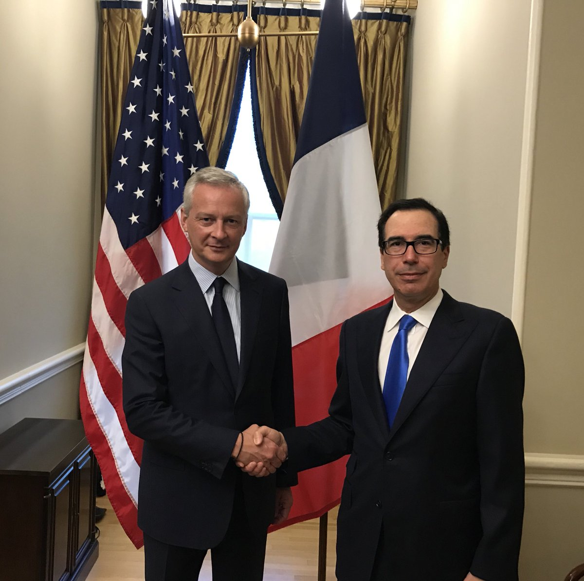 Enjoyed meeting with @BrunoLeMaire today @USTreasury to continue our discussion on international tax issues.