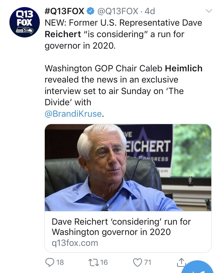 Republican recruiting in the Washington gov race is ...um... not going well.