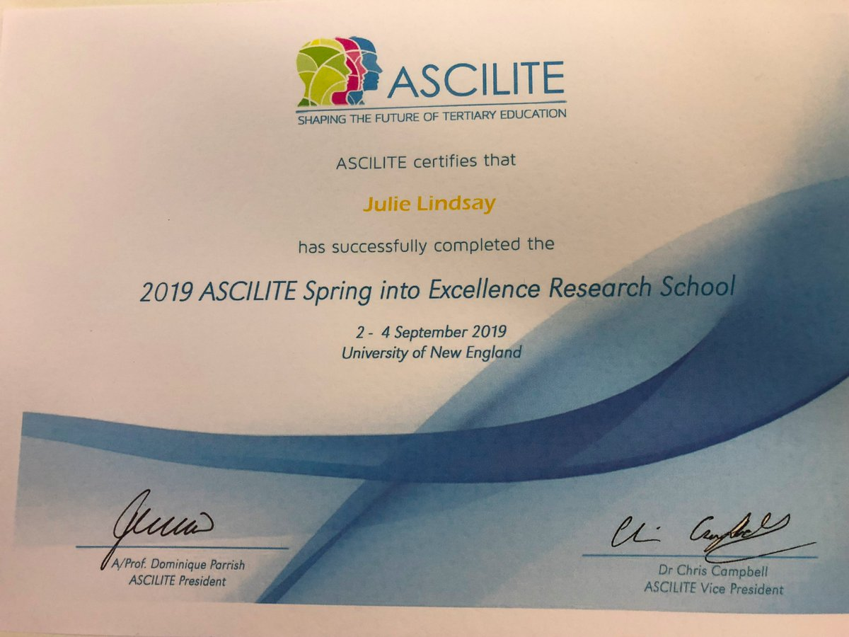 Lots to think about after the #ascilite Spring into Excellence Research School!
