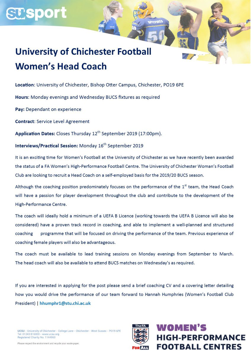 ❗️Coaching Opportunity❗️ We have an exciting opportunity to work with the University of Chichester Women's 1st Team. Feel free to DM with any enquiries.  Contact email at the bottom of the page for those wishing to apply Please note: Applications close on Thurs 12th Sept https://t.co/Aned9HG3Dt